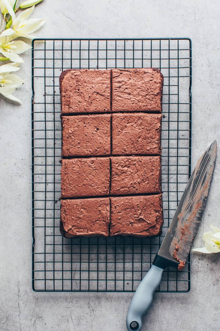Chocolate cake with chocolate frosting. Vegan brownie sheet cake.