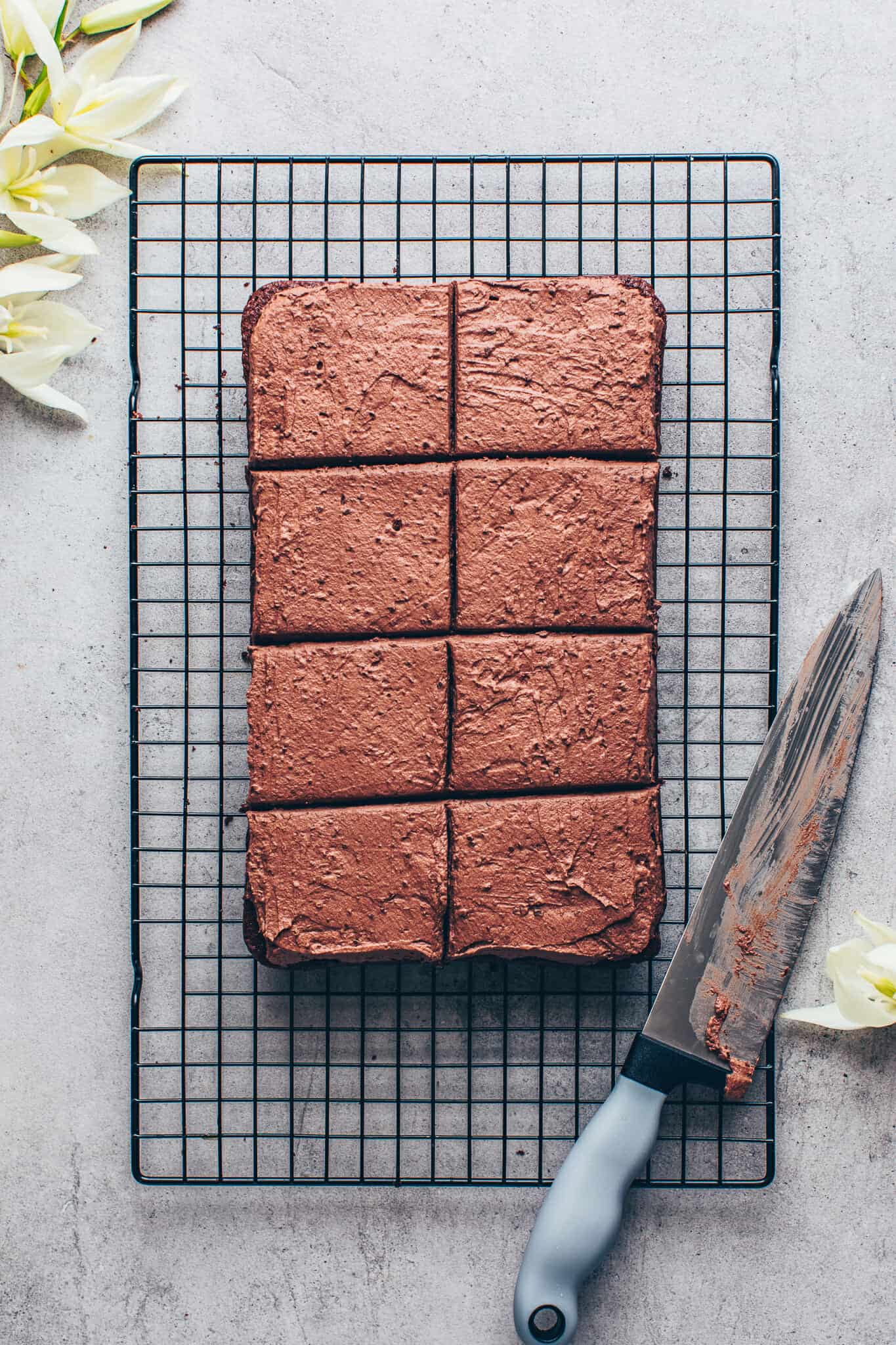 Chocolate cake with chocolate frosting. Vegan brownie sheet cake.