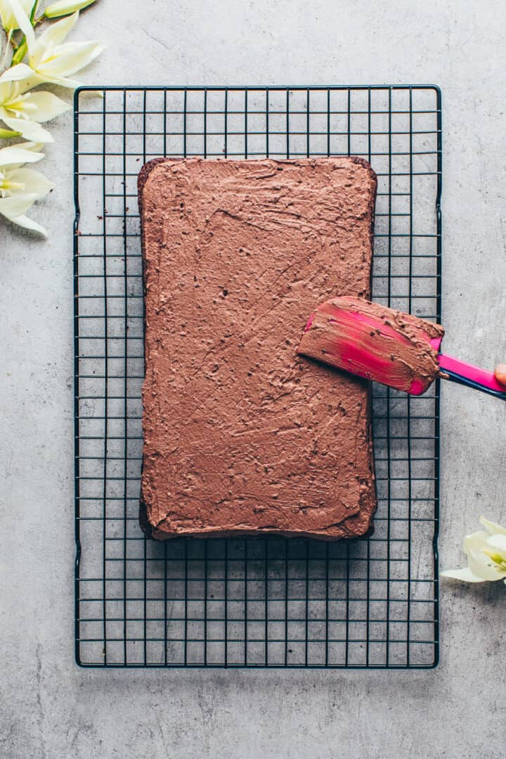 Schokokuchen. Veganer Schokoladenkuchen mit Schoko-Frosting. Schritt-fuer-Schritt Anleitung.