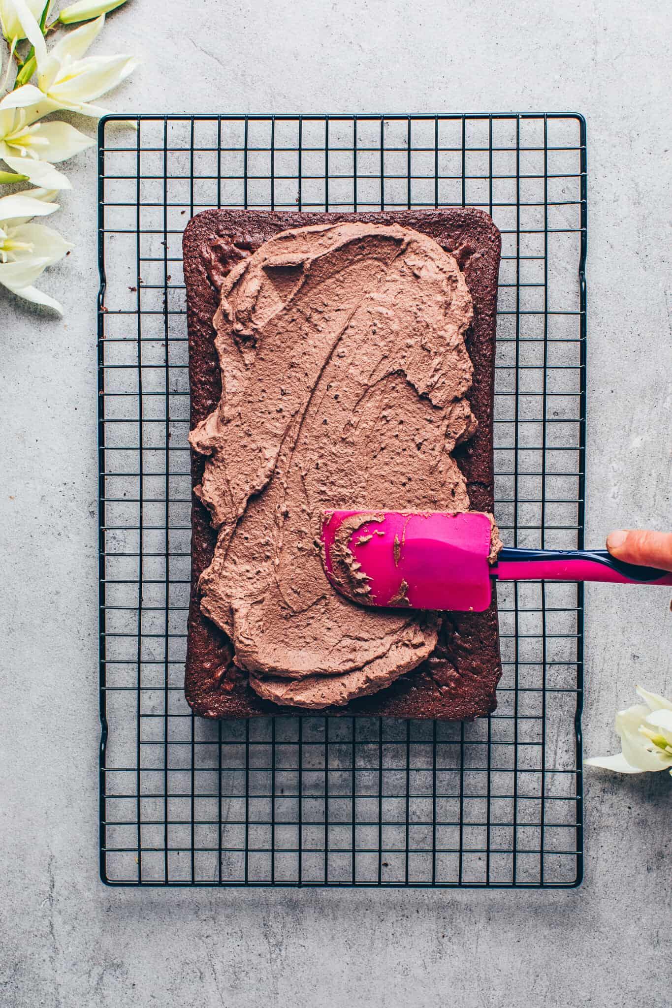 Chocolate cake with chocolate frosting. Vegan sheet cake brownies
