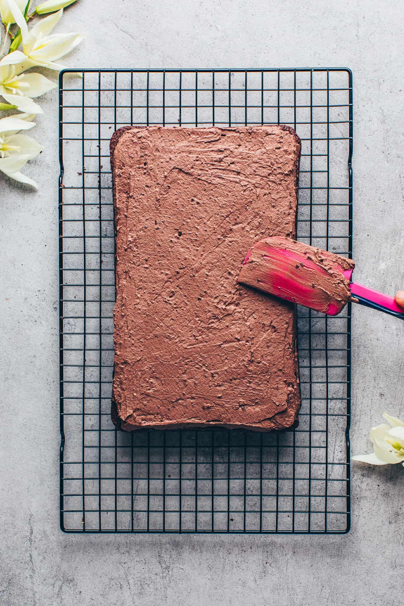 Chocolate cake. Moist, rich, delicious with chocolate frosting. Vegan sheet cake brownies