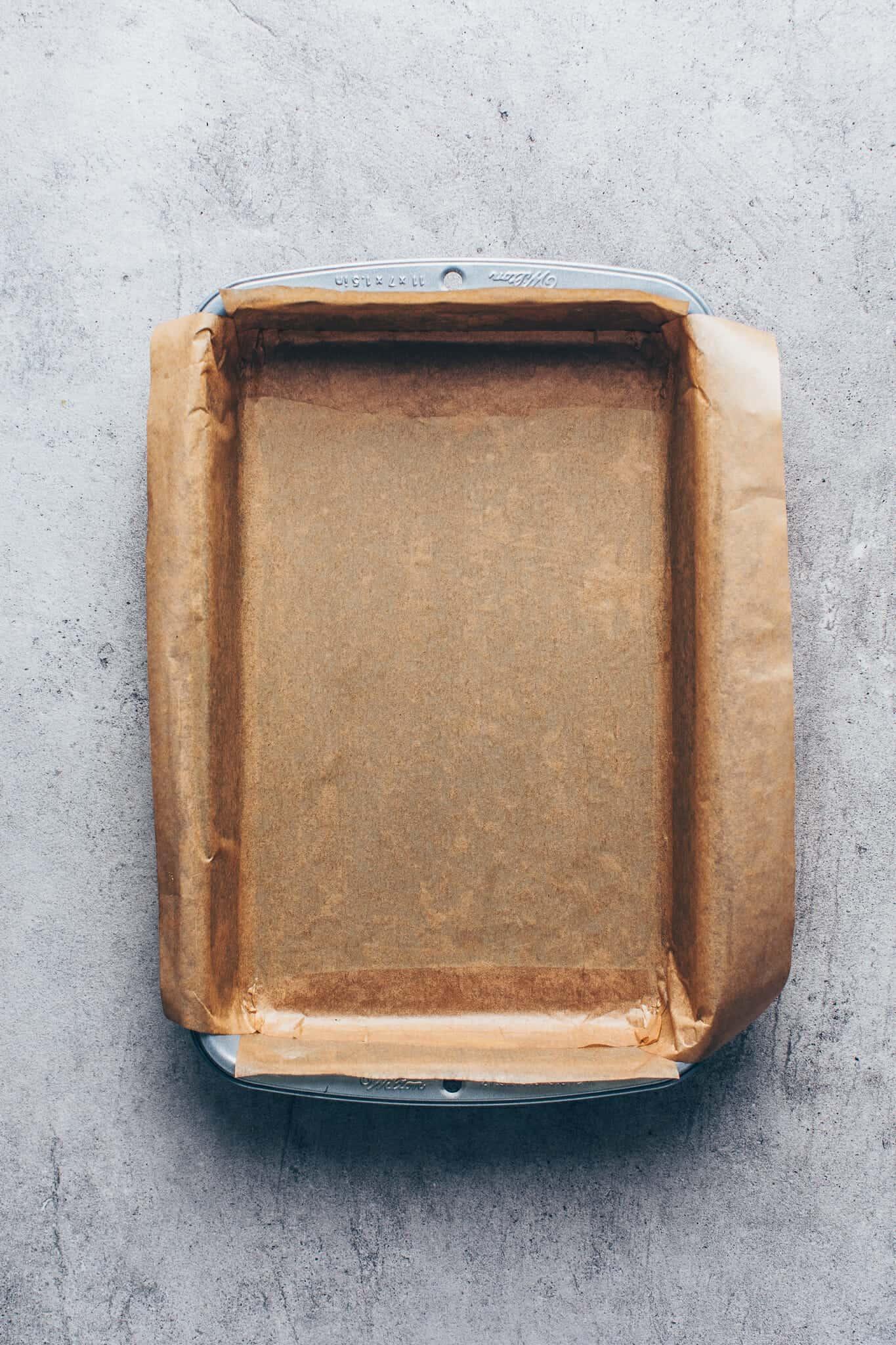 Backform mit Backpapier für Schokoladenkuchen