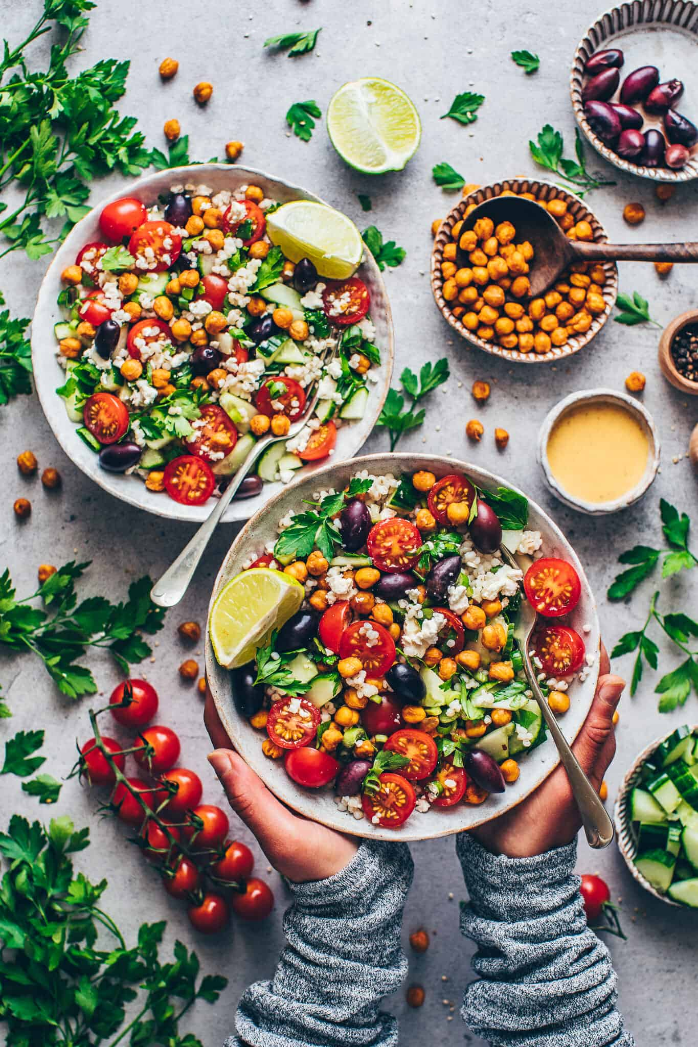 Mediterranean Chickpea Salad with Tahini Dressing, vegetables and crispy roasted chickpeas