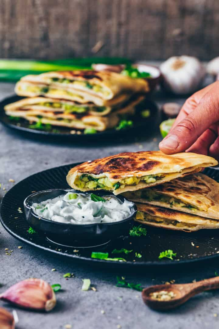 Green onion and potato stuffed flatbread | Aloo Paratha