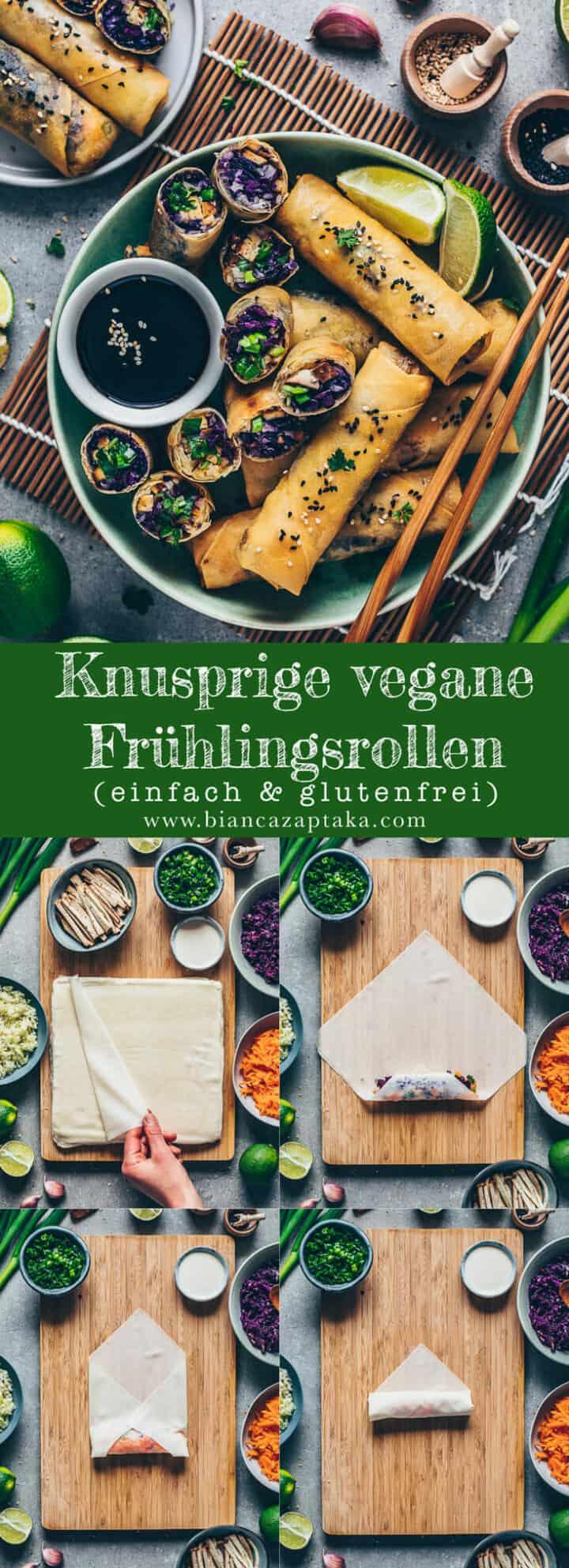 Frühlingsrollen-Rezept mit Schritt-für-Schritt-Anleitung. Einfache chinesische Frühlingsrollen mit Gemüse und Tofu gefüllt. Vegan, glutenfrei und lecker.