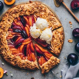 Stone Fruit Galette with peaches, apricots, nectarines, plums. Easy vegan pie crust Recipe.