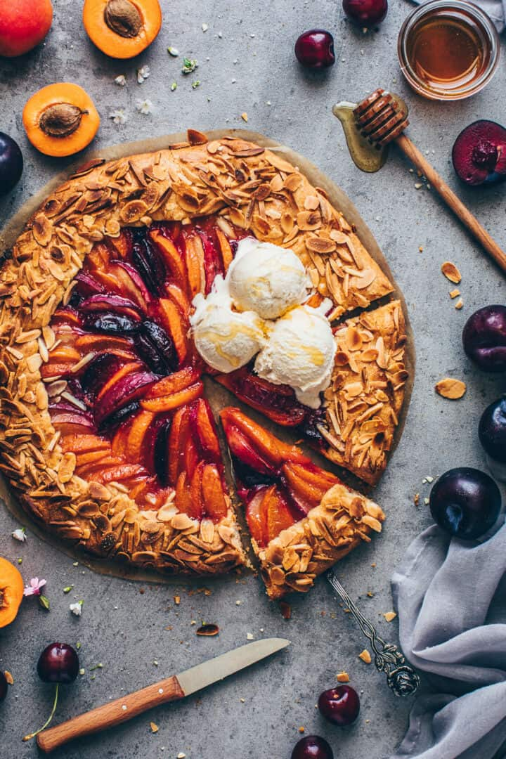 Stone Fruit Galette with peaches, apricots, nectarines, plums, ice cream.