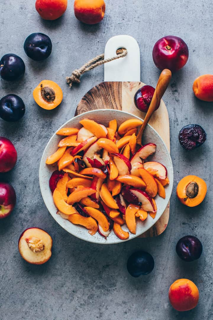 Fruit Galette with peaches, apricots, nectarines, plums.
