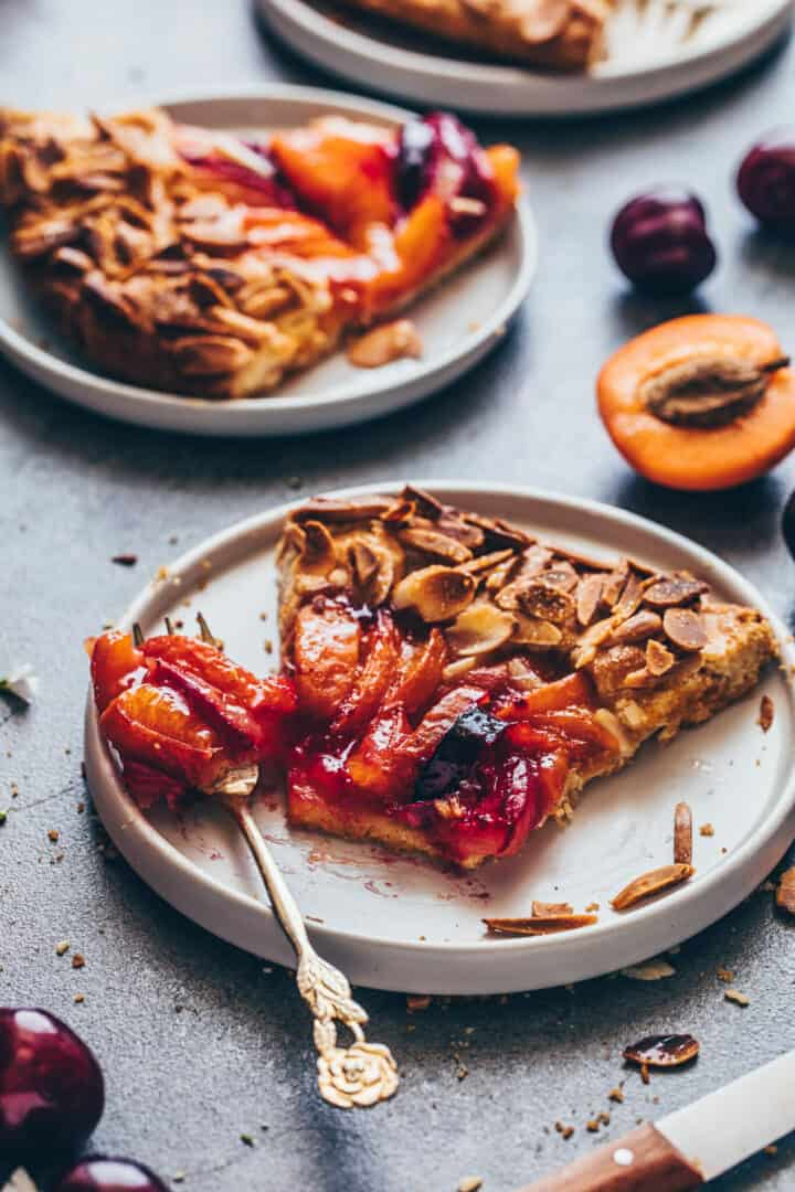 Fruit Galette with peaches, apricots, nectarines, plums, almonds.