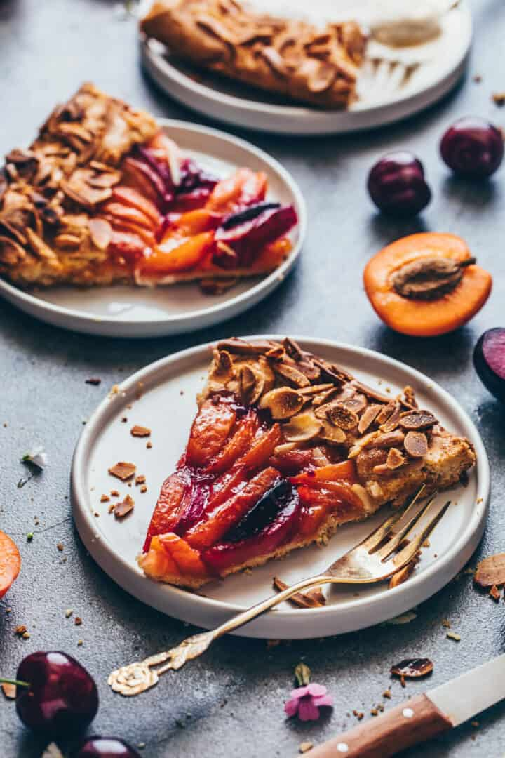 Stone Fruit Galette with peaches, apricots, nectarines, plums.