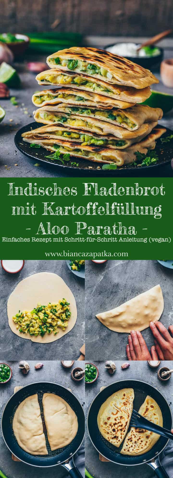 Indisches Fladenbrot mit Kartoffelfüllung (Pfannenbrot) | Aloo Paratha