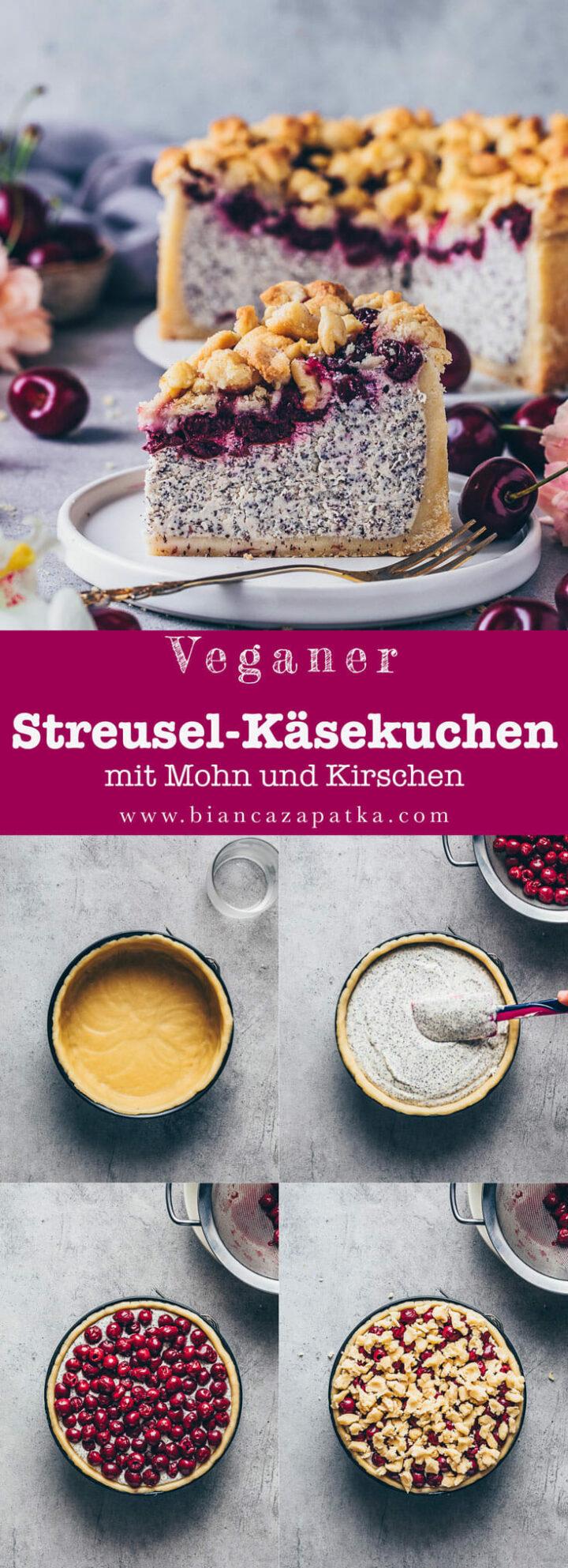 Streuselkuchen Käsekuchen mit Mohn und Kirschen