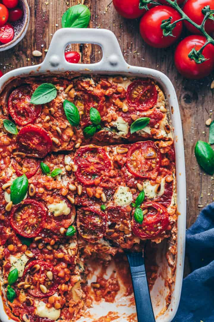 best best vegan lasagna with lentils, tomatoes and cashew cheese sauce