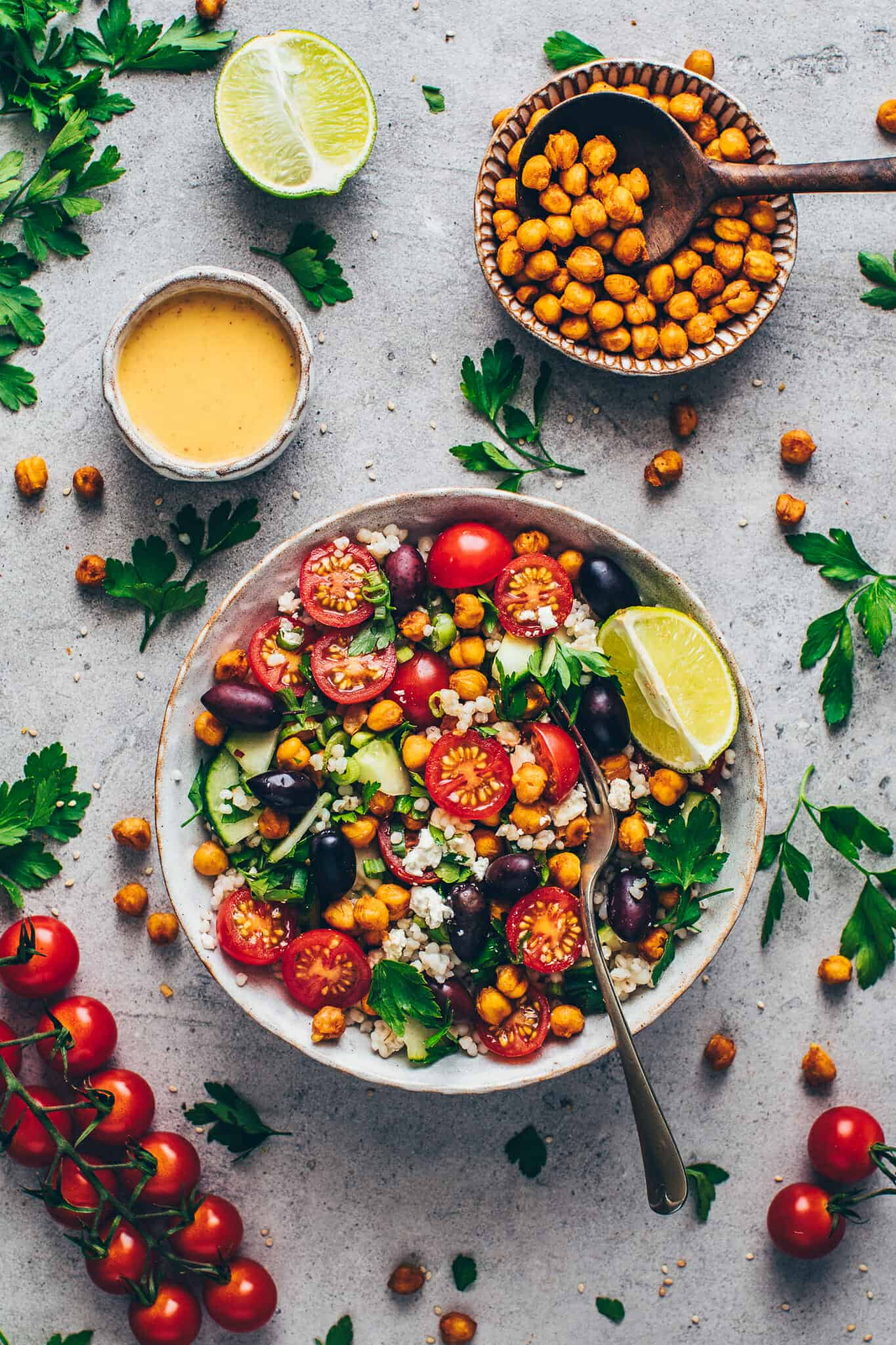 Mediterranean Chickpea Salad with Tahini Dressing, vegetables and crispy roasted chickpeas Recipe.