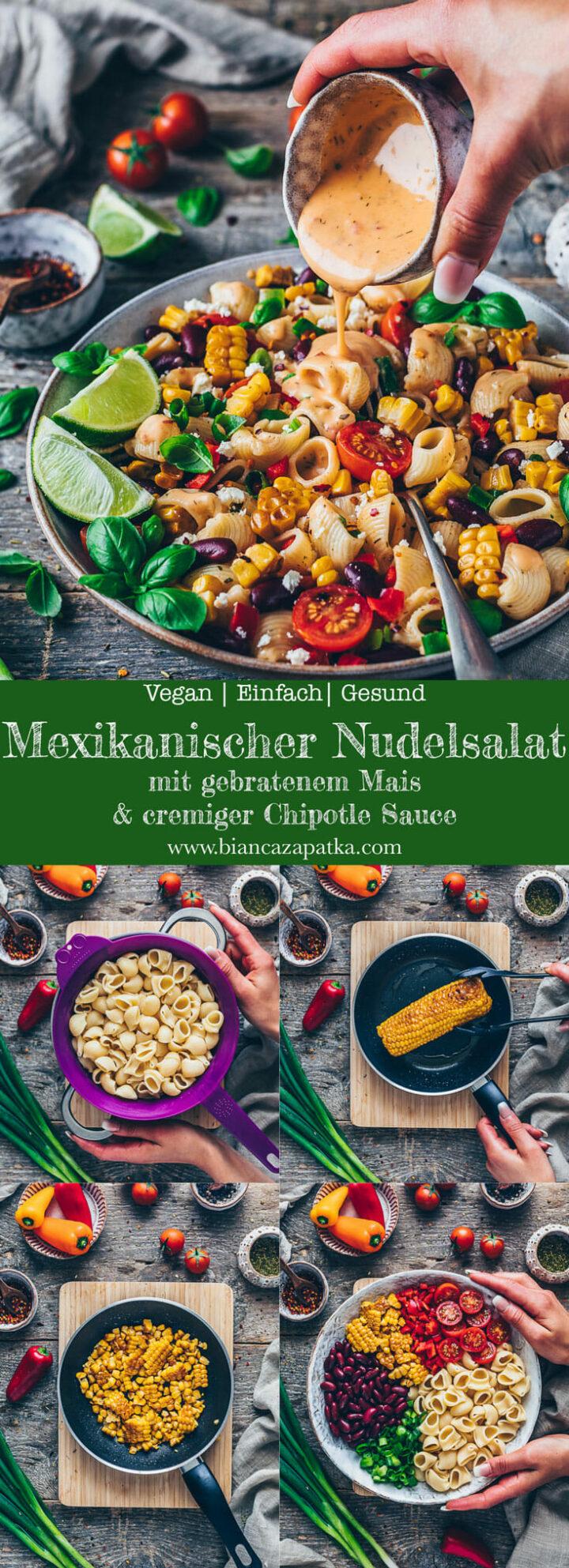 Mexikanischer Nudelsalat mit gebratenem Mais, Kidney-Bohnen, Paprika, Tomaten, Frühlingszwiebeln, Chipotle Sauce, Pasta