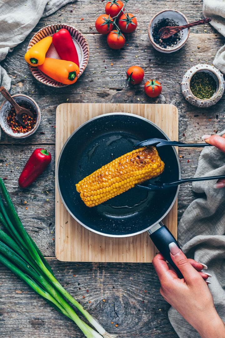 roast sweet corn in a skillet