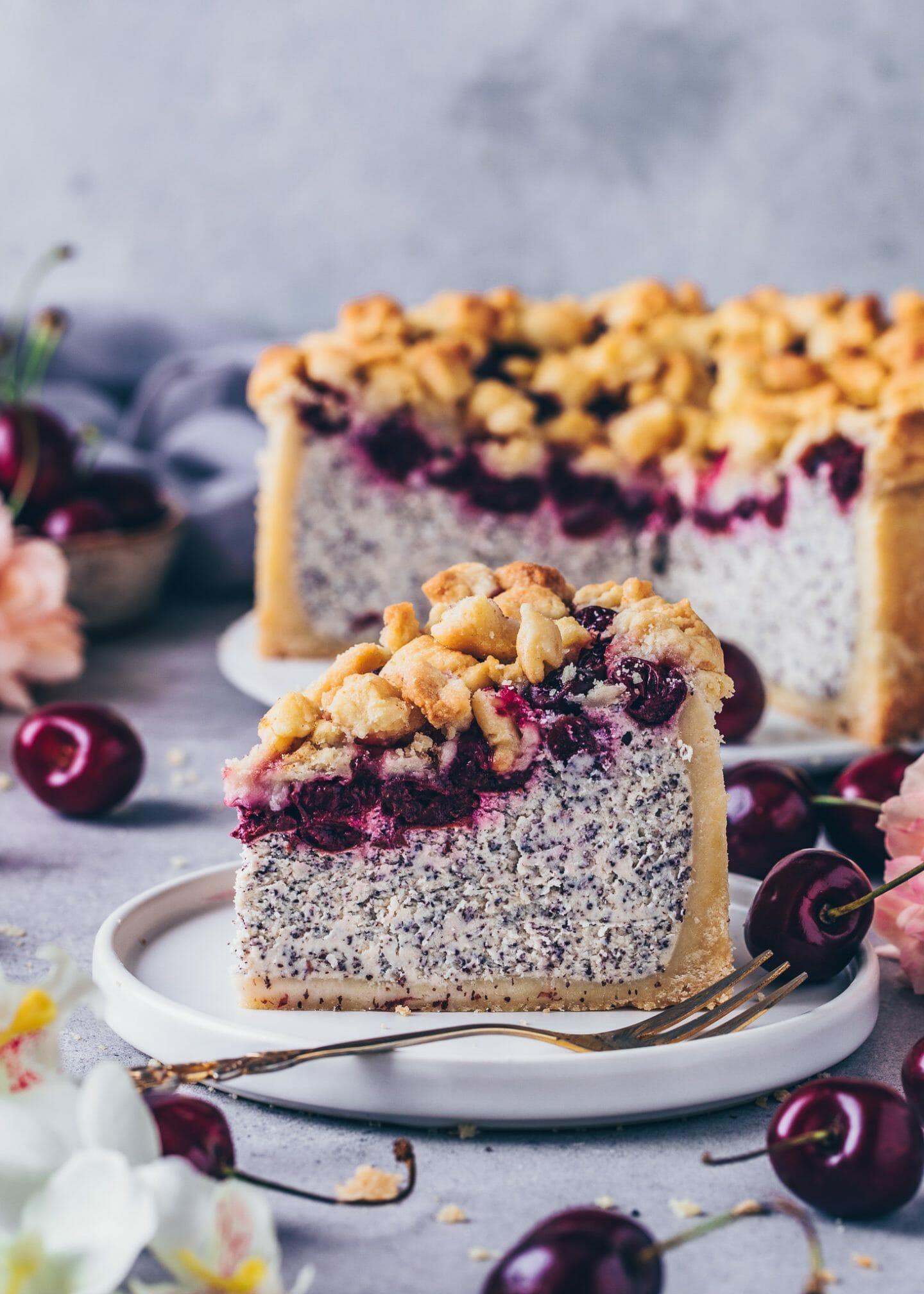 Cherry Crumble Cake vegan Cheesecake with poppy seeds