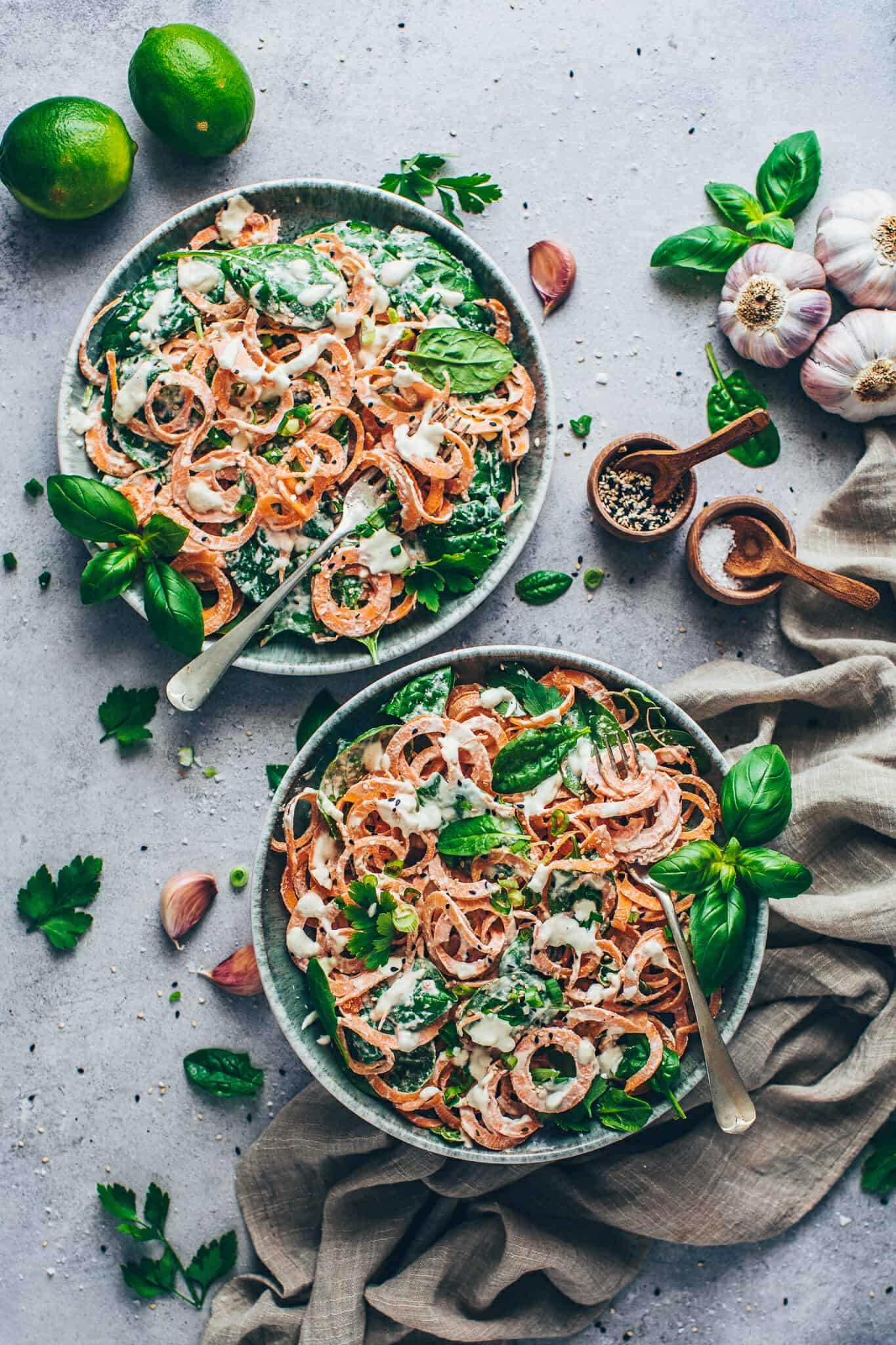 Sweet Potato Noodles with Spinach and Cashew sauce