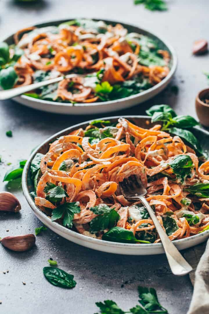 Sweet Potato Noodles with Spinach and creamy Cashew sauce. Vegan Alfredo Cheese sauce. This 15-minute pasta recipe is easy to make, gluten-free, dairy-free and healthy!
