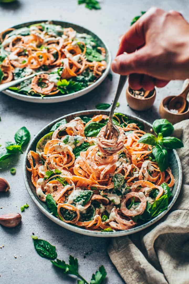 Sweet Potato Noodles with Spinach and creamy Cashew sauce.