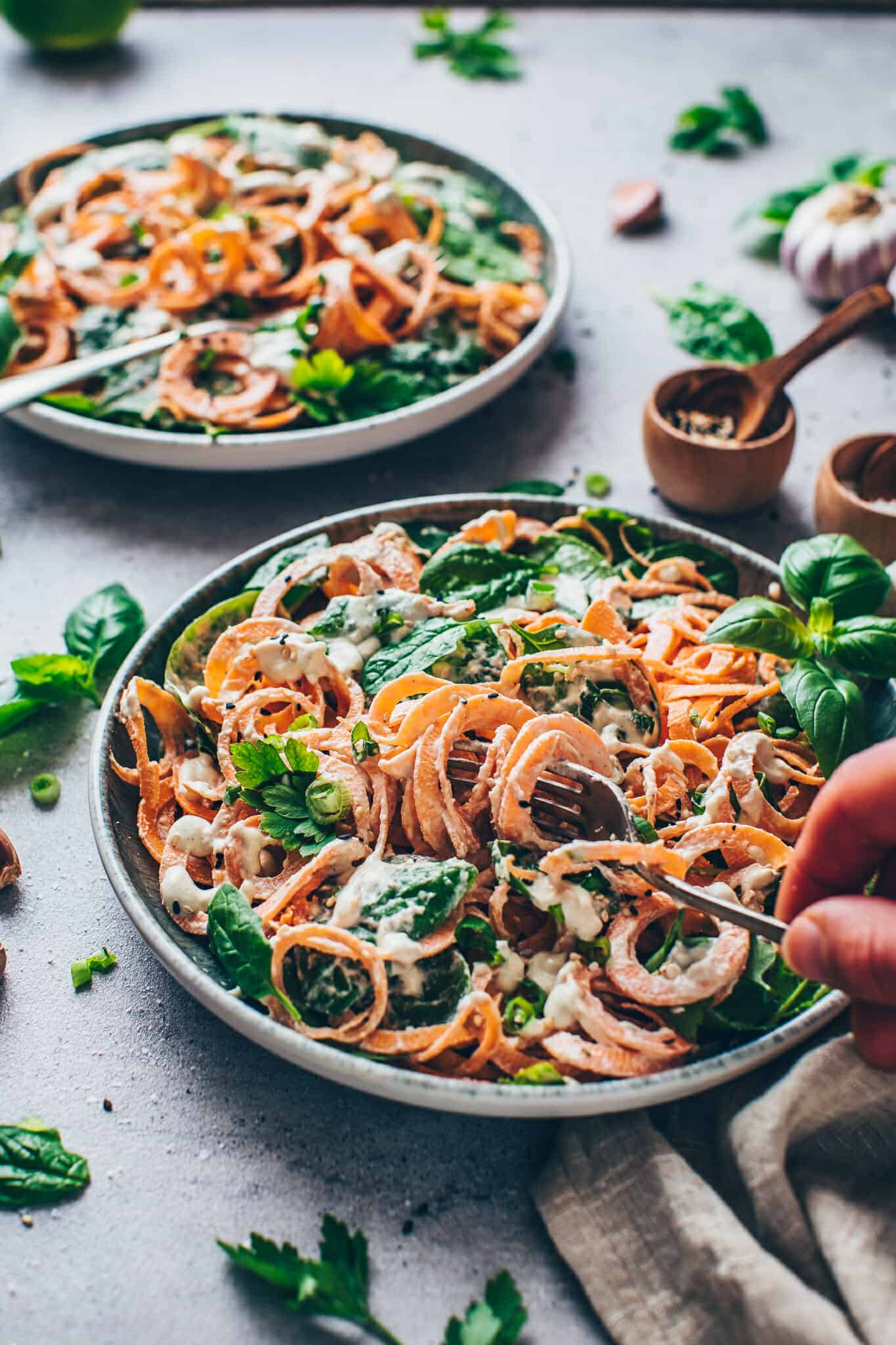 Sweet Potato Noodles with Spinach and creamy Cashew sauce