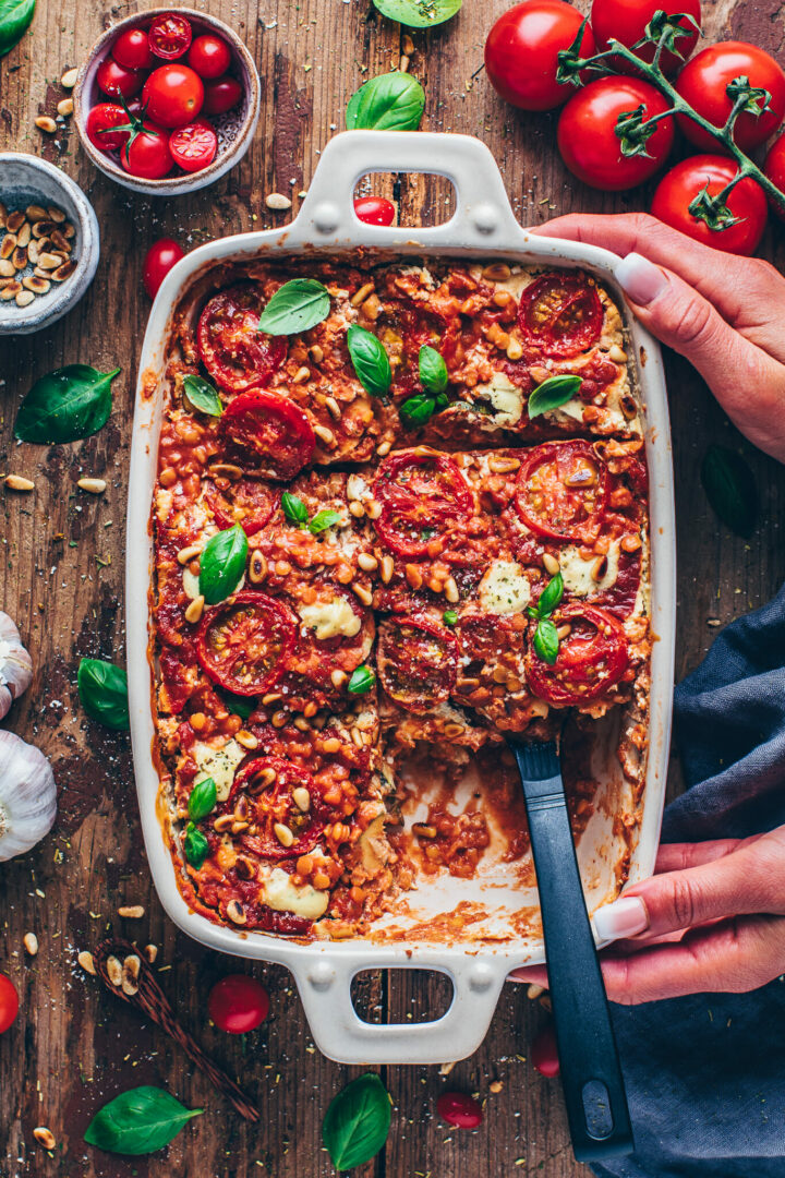 best vegan lasagna with lentils, tomatoes, basil, pine nuts and cashew cheese sauce