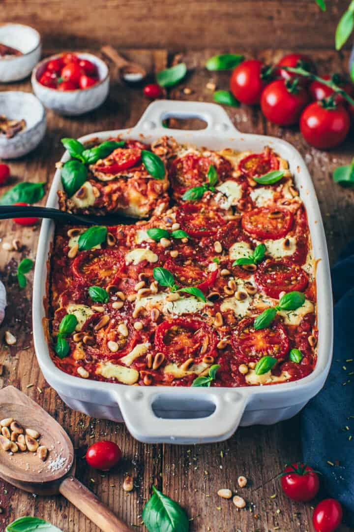 vegan lasagna with lentils, tomatoes and cashew cheese sauce