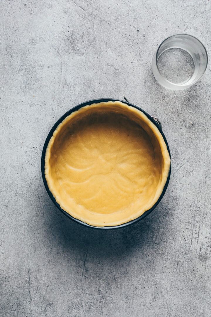 pastry dough in a springform pan