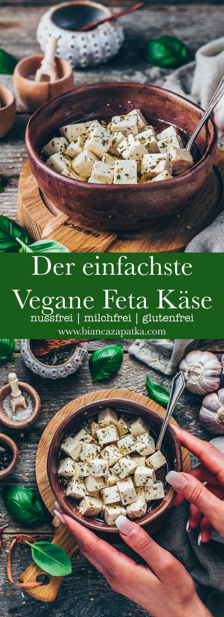 Veganer Feta Käse mit Marinade