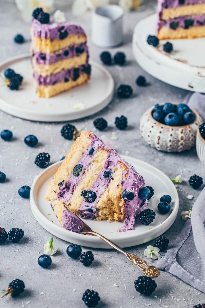 Vegan Coconut Cake with Blueberry Blackberry Yogurt Cream Frosting