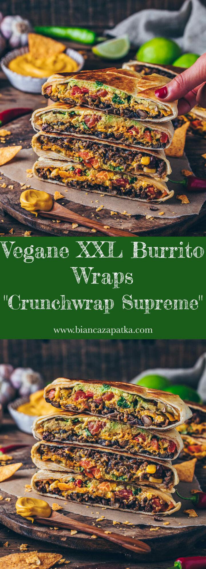 Crunchwrap Supreme - vegane Tortilla Wraps Sandwich mit Taco Burrito Füllung, Käsesauce, Nachos, Tomaten, Paprika, Salat, Mais und Käsesosse
