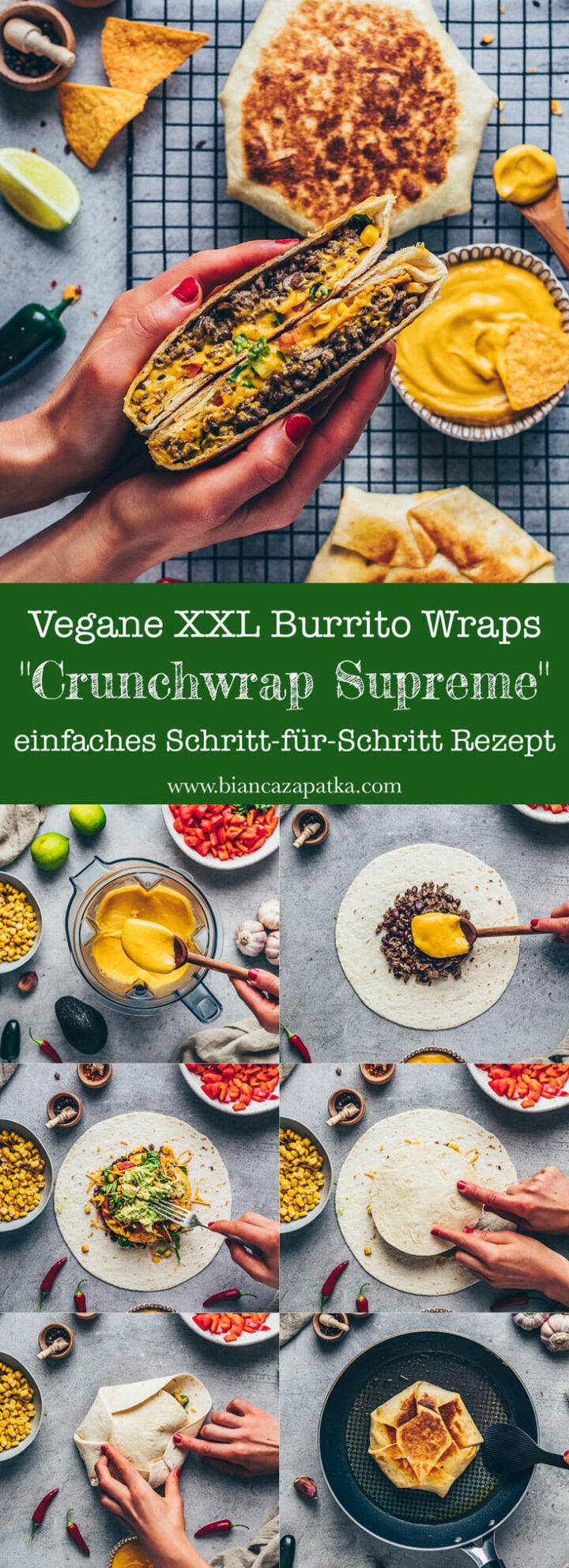 Burrito Wraps mit veganer Käsesauce Cashew Käsesosse und Tortilla Chips Nachos