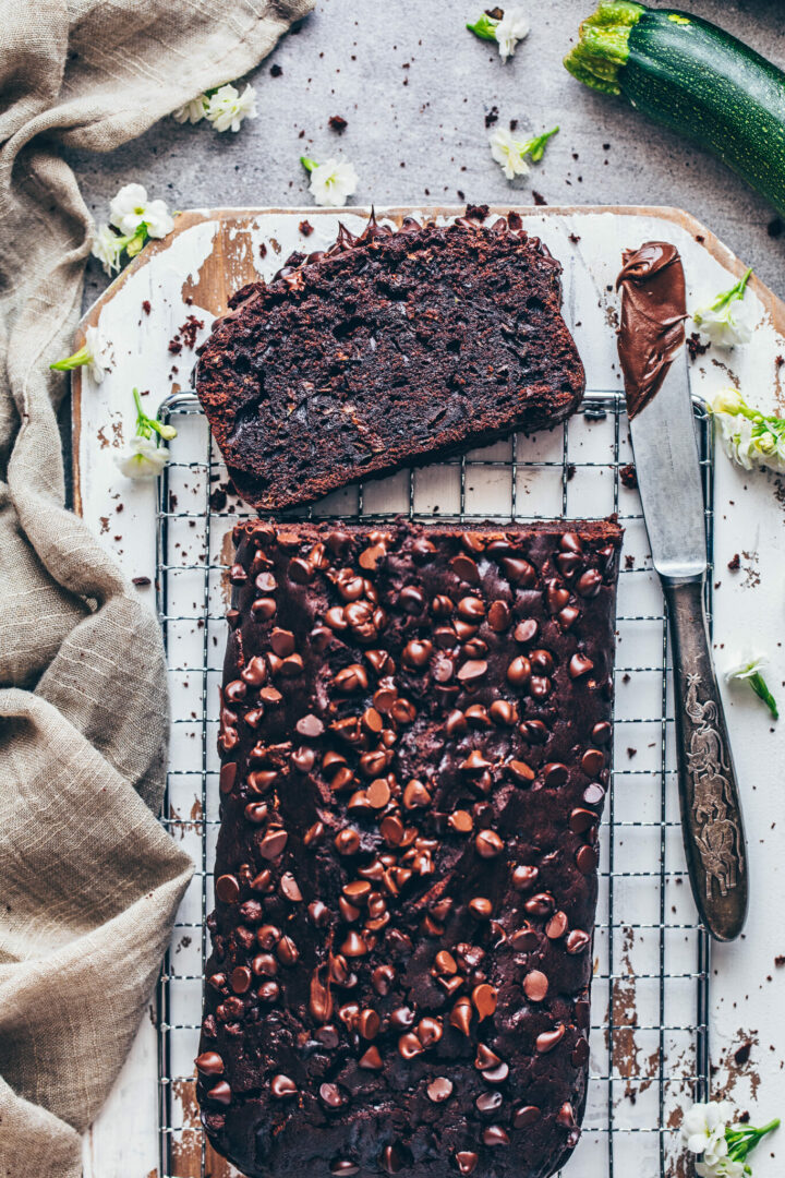 Best Chocolate Zucchini Bread - moist, rich, fudgy, easy to make vegan chocolate cake with caramel sauce