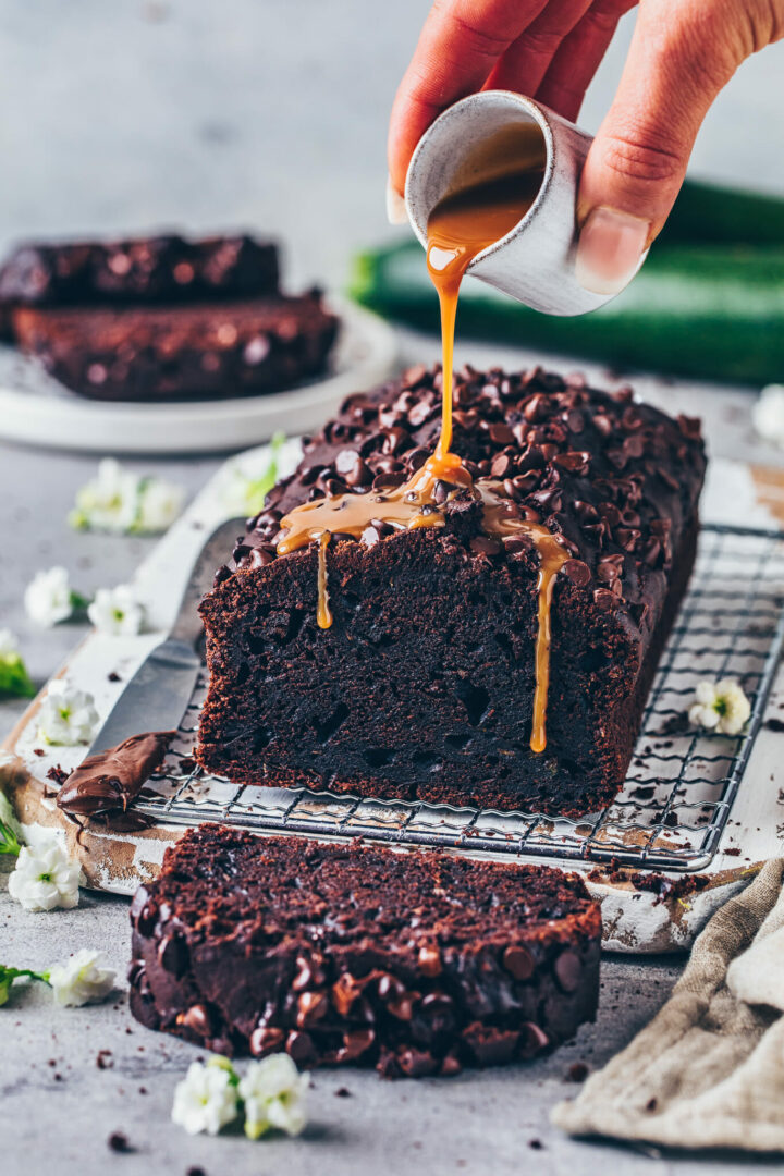 Chocolate Zucchini Bread Loaf - moist, rich, fudgy, easy to make vegan chocolate cake with caramel sauce
