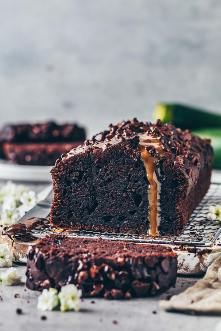 Best Chocolate Zucchini Bread - moist, rich, fudgy, easy vegan chocolate cake with caramel sauce