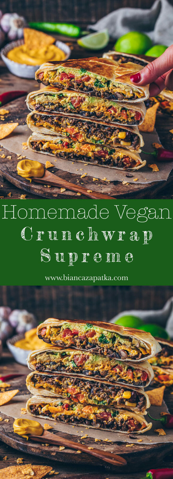 Vegan Crunchwrap Supreme with burrito taco meat filling, easy vegan nacho cheese sauce, tomatoes, red bell pepper, corn, beans, avocado