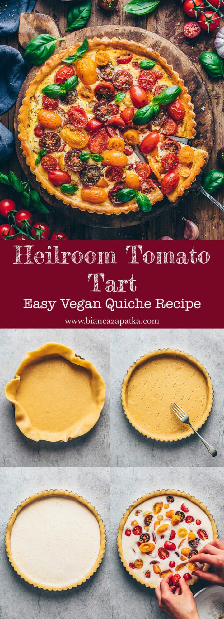 heirlroom tomato quiche tart with basil | food photography & styling step-by-step recipe