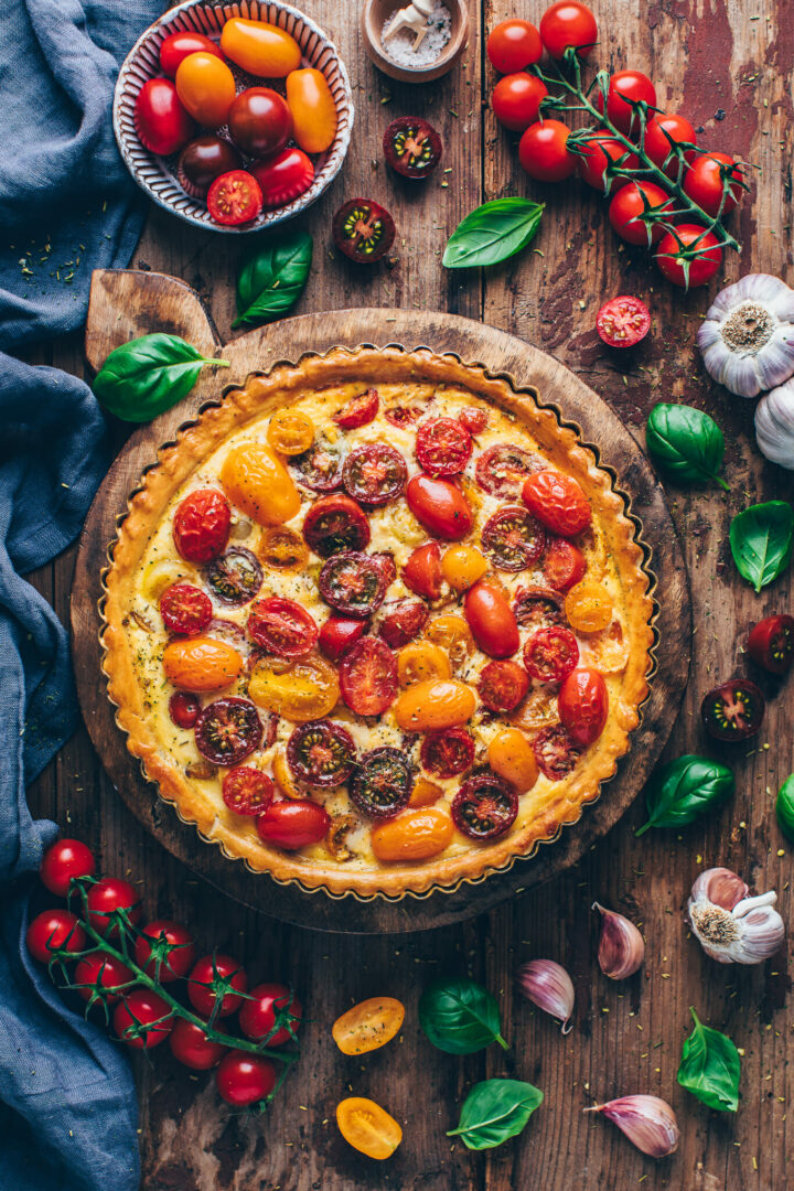 heirlroom tomato vegan quiche tart | food photography & styling