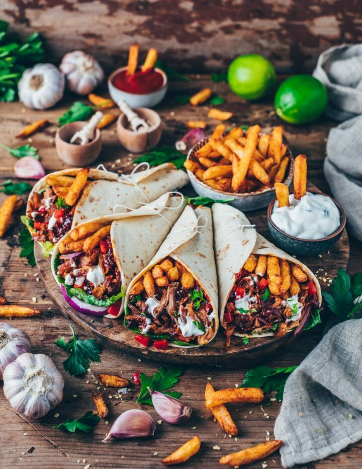 Vegan Gyros Pulled Jackfruit Tacos with fries and Tzatziki