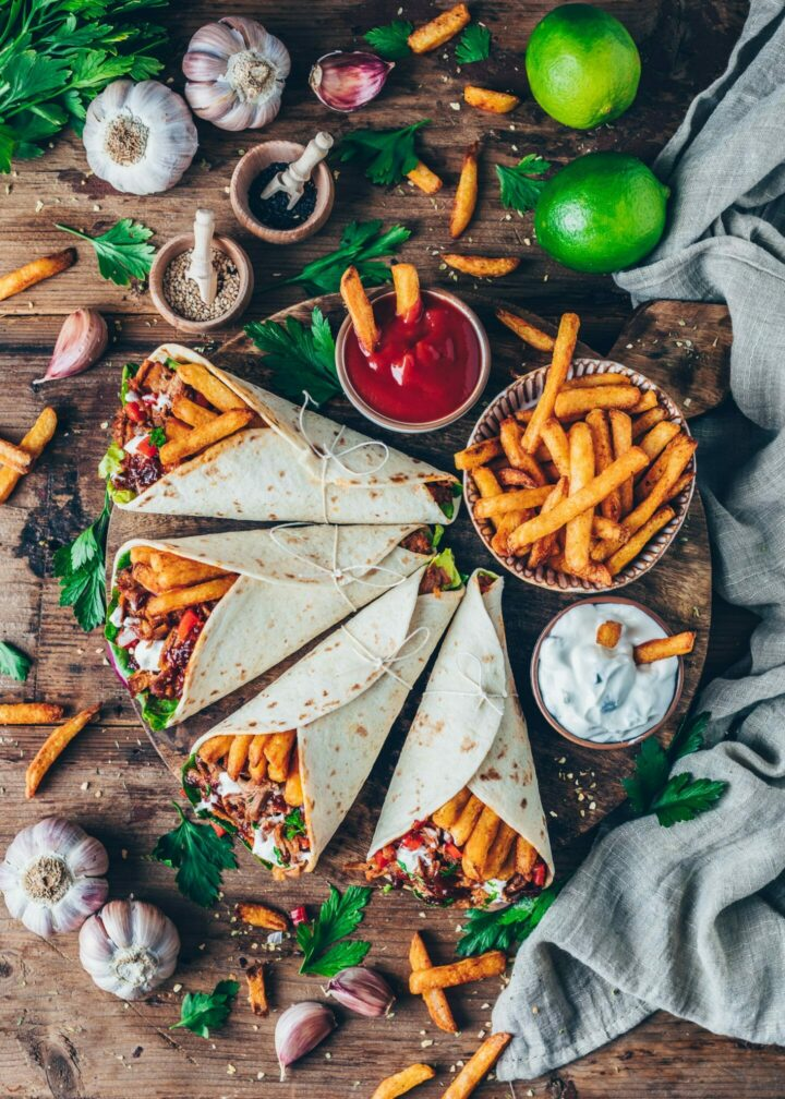Vegan Gyros Pulled Jackfruit Wraps with fries and Tzatziki