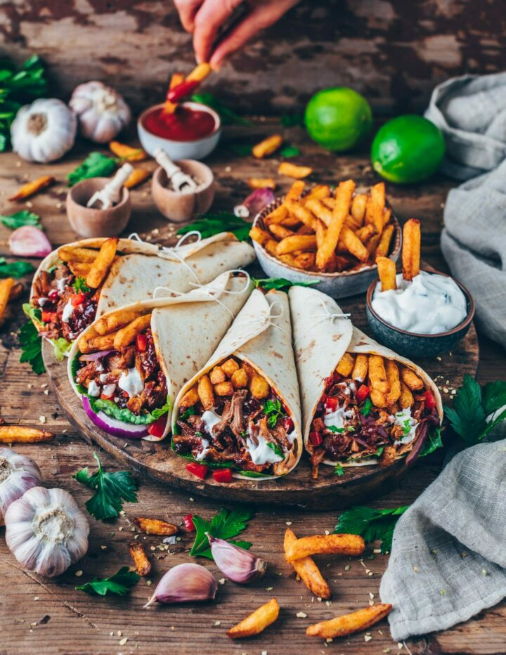 Jackfruit Tacos - Vegan Gyros Wraps with fries and Tzatziki
