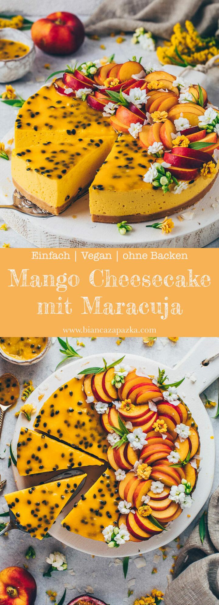 Mango Cheesecake Torte ohne Backen mit Maracuja und Nektarinen