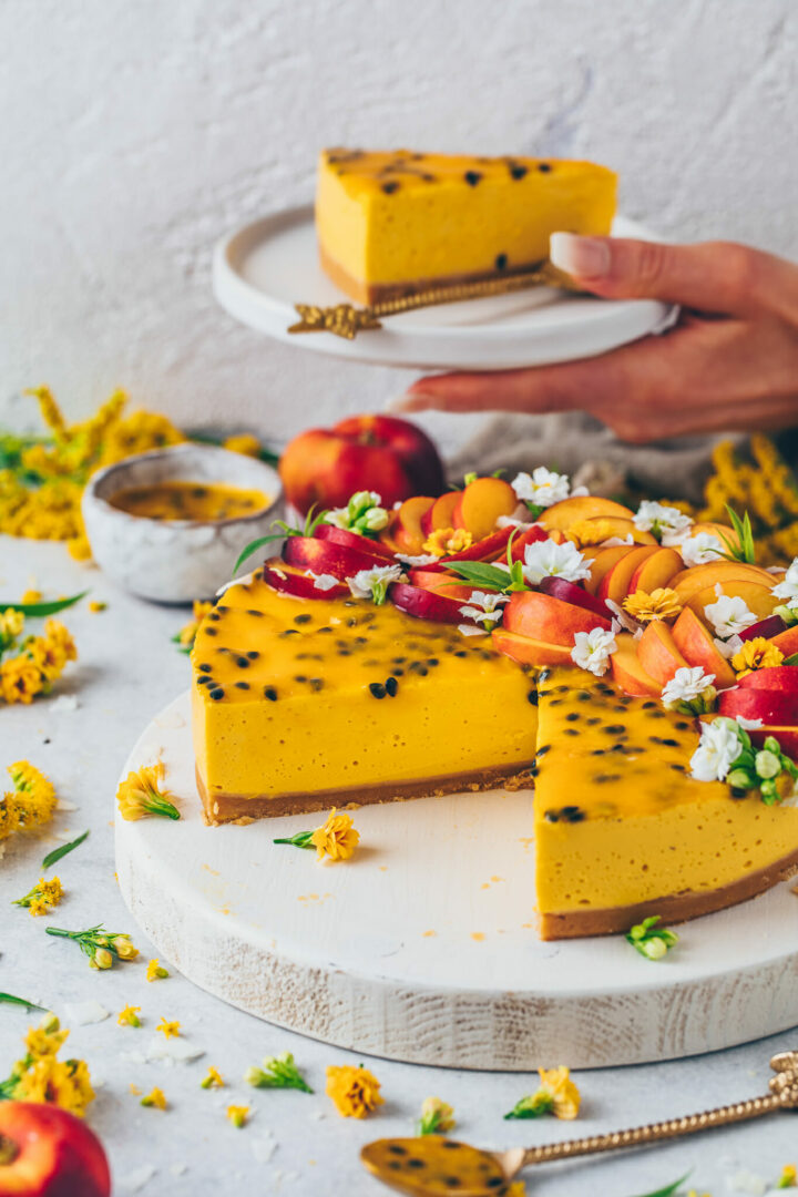 Mango Cheesecake with Passion Fruit Recipe | Food Photography