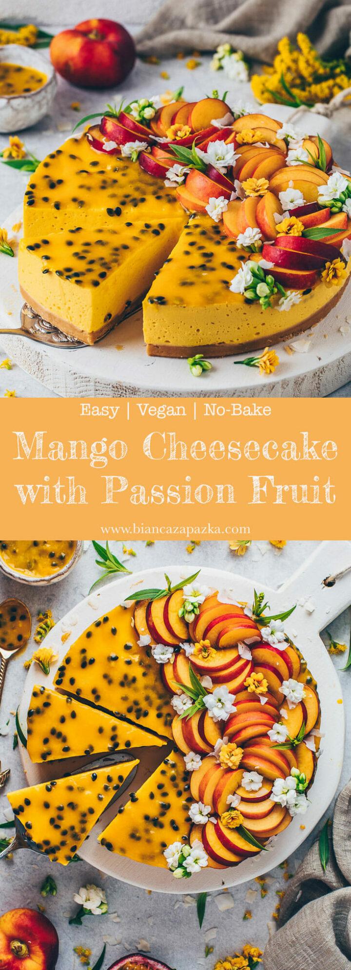 Mango Cheesecake | Passion Fruit Cake - Vegan No-Bake