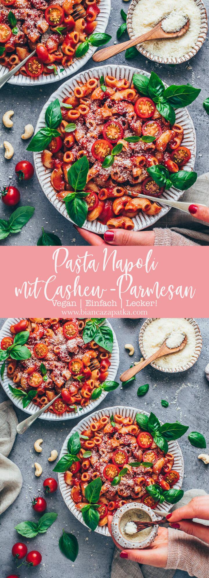 Macaroni Nudeln Napoli mit Tomaten, Basilikum, Cashew Nüsse und veganer Parmesan Käse