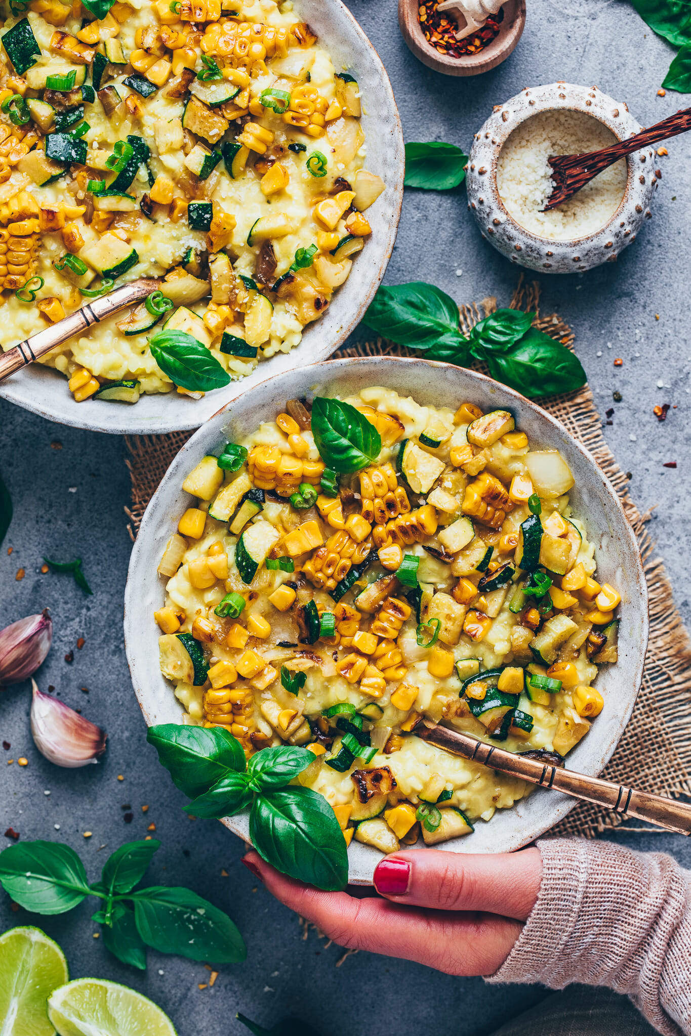 creamy roasted sweet corn risotto with zucchini, basil and vegan parmesan cheese