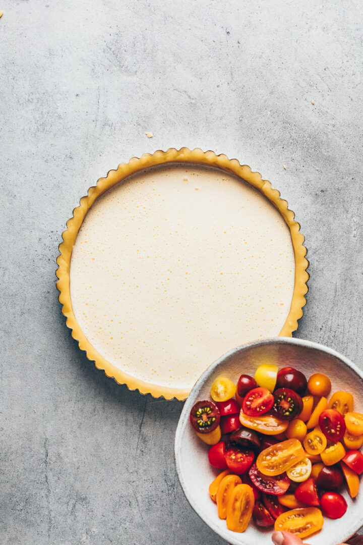 vegan quiche recipe step-by-step (tomato tart)