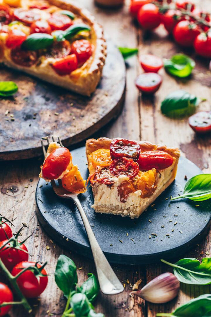 tomato quiche tart with homemade pie dough pastry and basil   vegan, tasty, easy