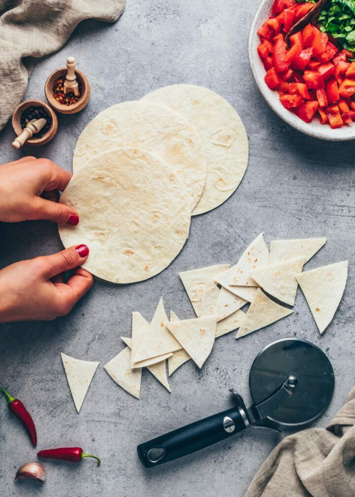 how to make tortilla chips and tostadas for Crunchwrap supreme