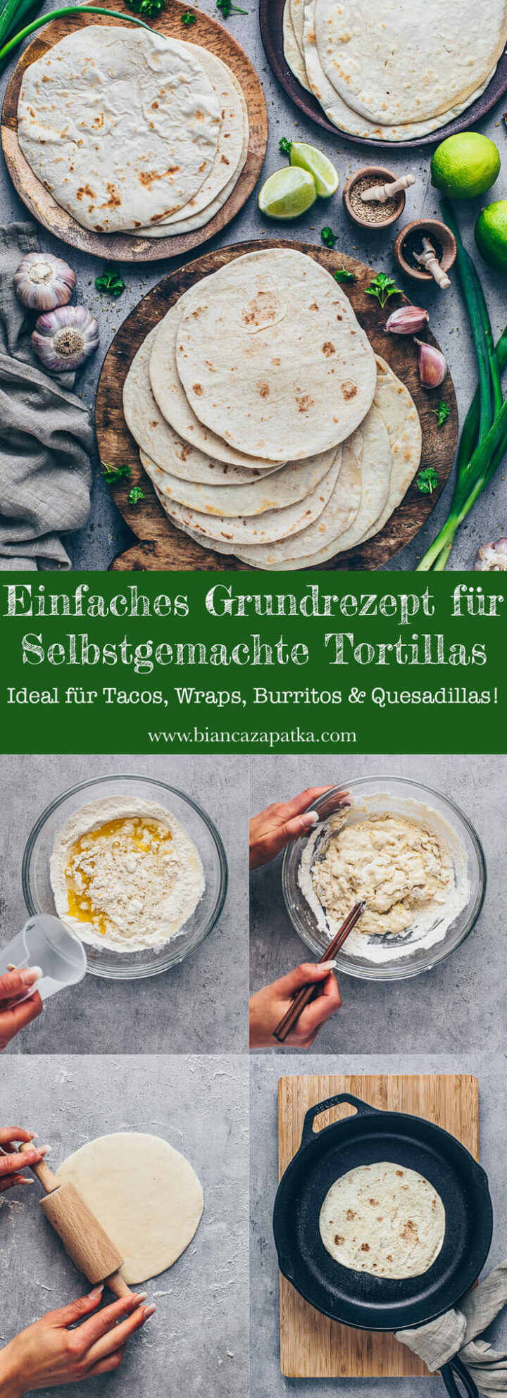 Selbstgemachte weiche Weizen-Tortillas für Tacos, Wraps, Quesadillas, Burritos
